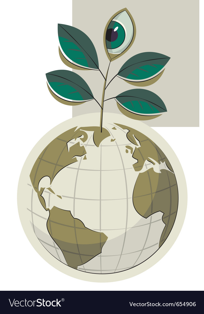 Green earth and plant with an eye vector | Price: 3 Credit (USD $3)
