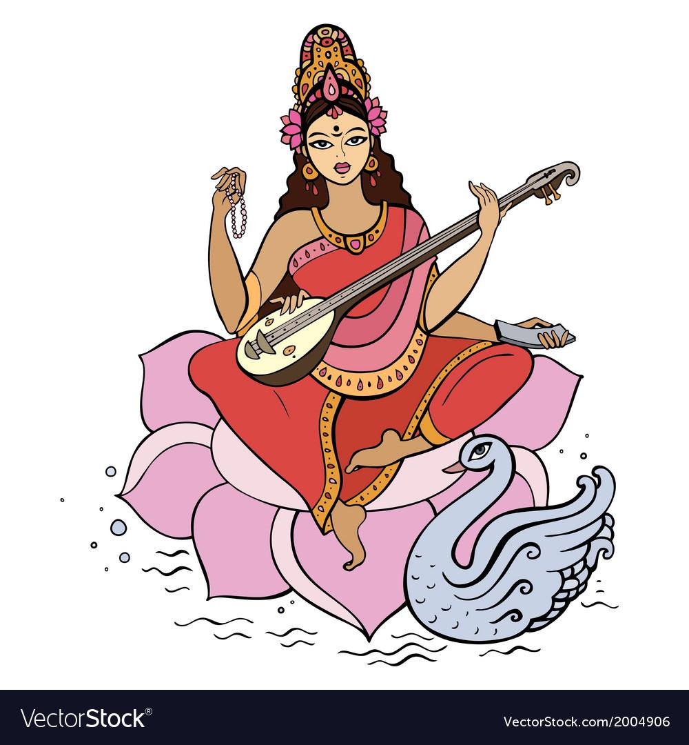 Hindu goddess saraswati vector | Price: 1 Credit (USD $1)