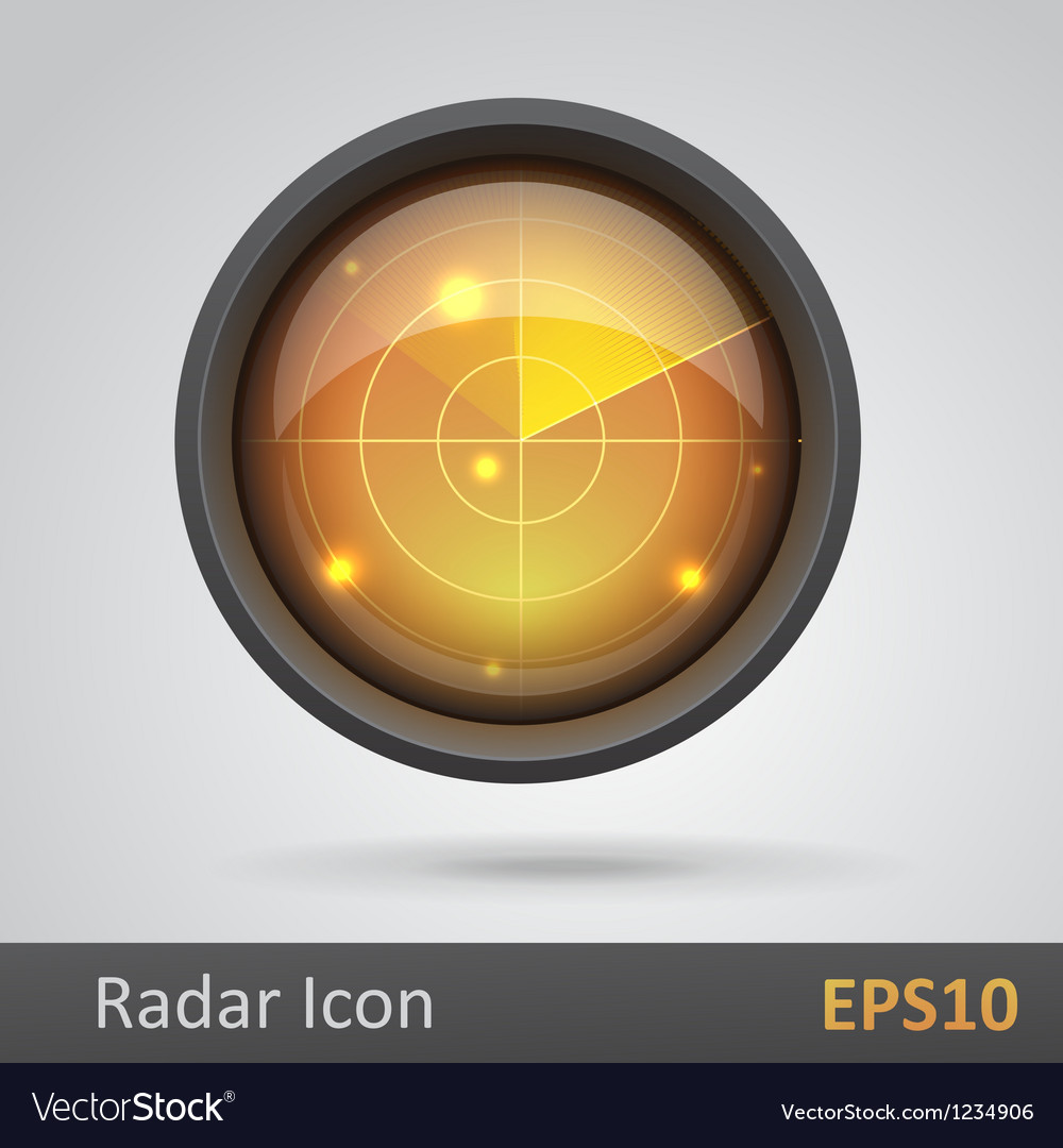 Realistic radar icon vector | Price: 1 Credit (USD $1)