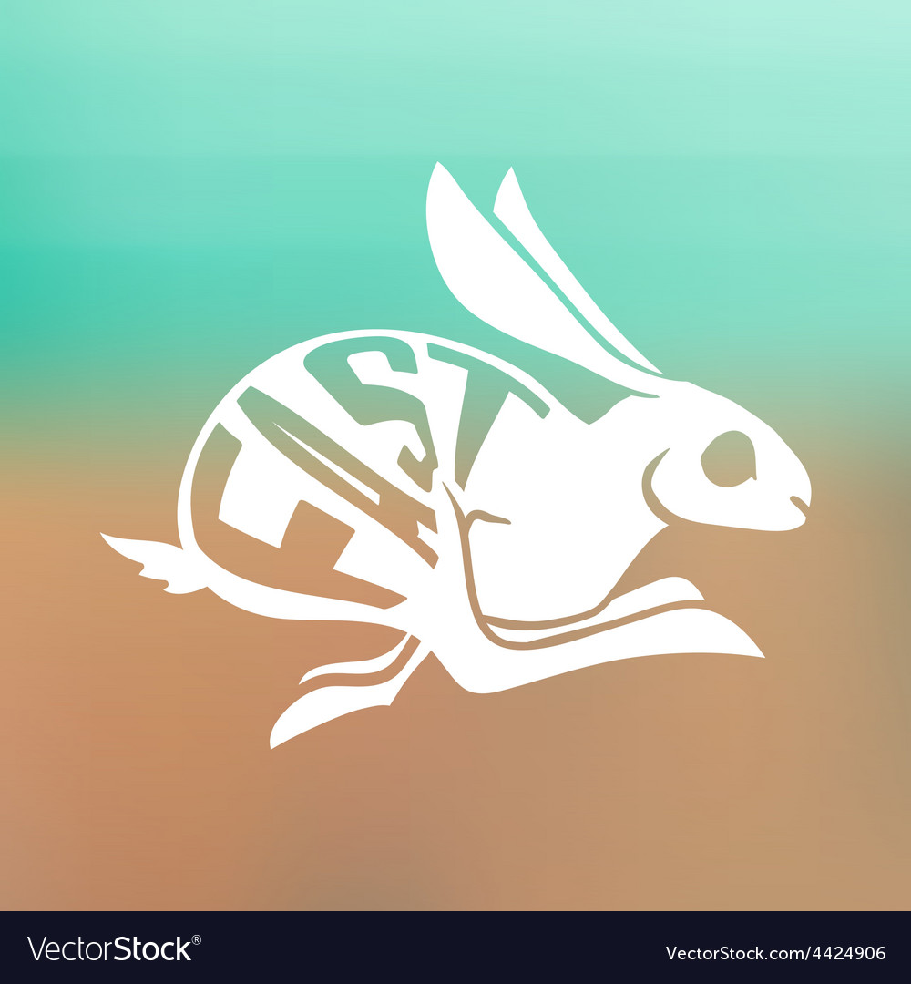 Silhouette of fast rabbit with text inside on blur vector | Price: 1 Credit (USD $1)