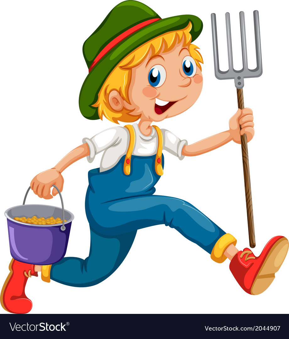 A gardener running with a rake and a pail vector   Price: 1 Credit (USD $1)