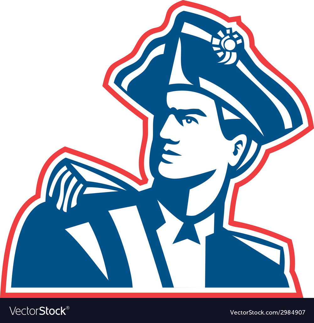 American patriot soldier bust retro vector | Price: 1 Credit (USD $1)