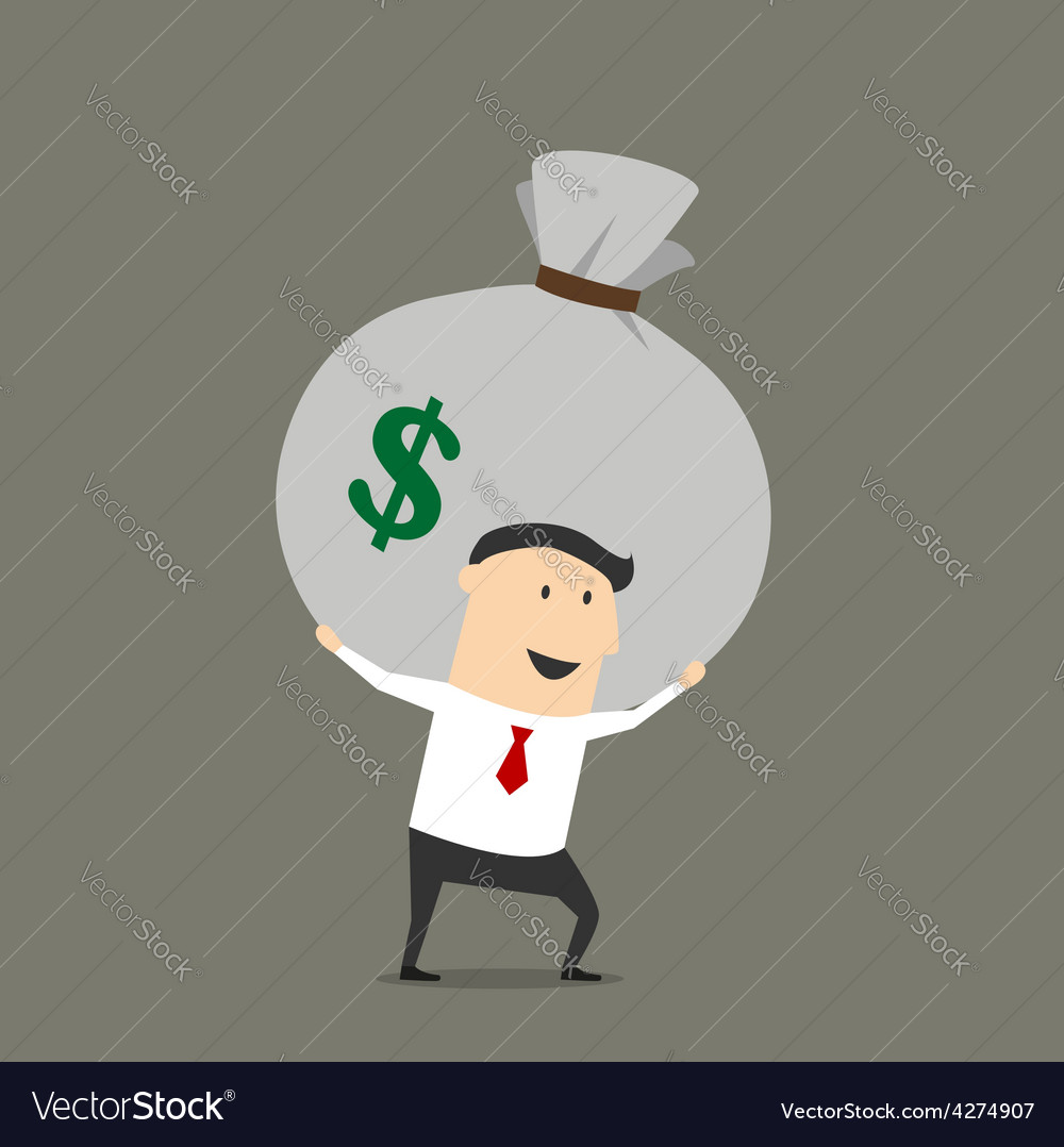 Businessman with money bag cartoon character vector | Price: 1 Credit (USD $1)