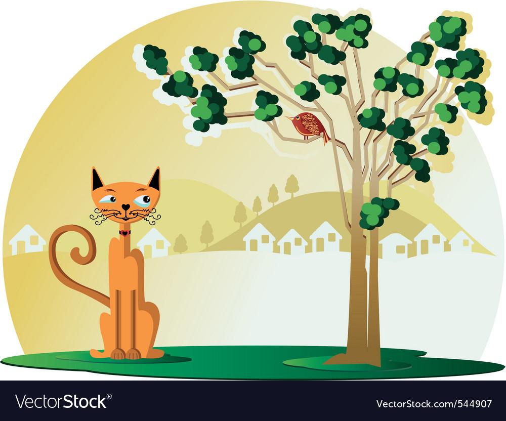 Cat with bird in tree vector