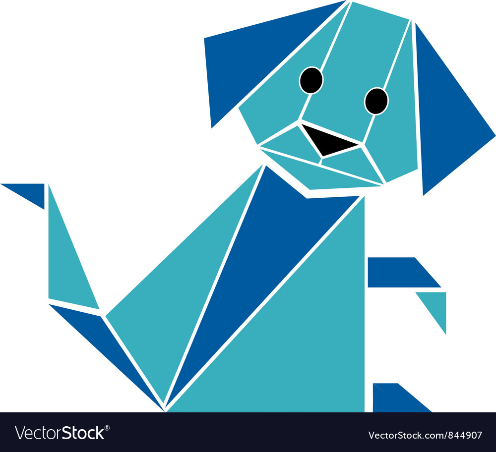Dog origami style vector   Price: 1 Credit (USD $1)