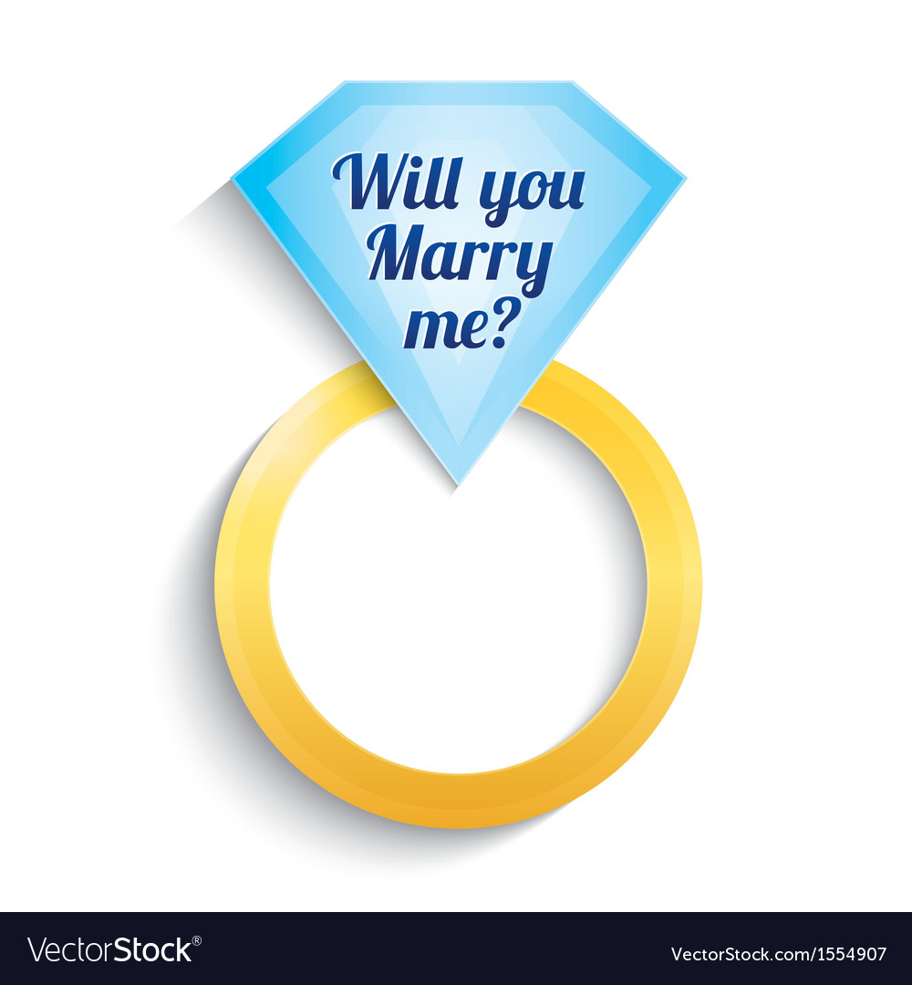 Engagement ring with diamond will you marry me vector | Price: 1 Credit (USD $1)