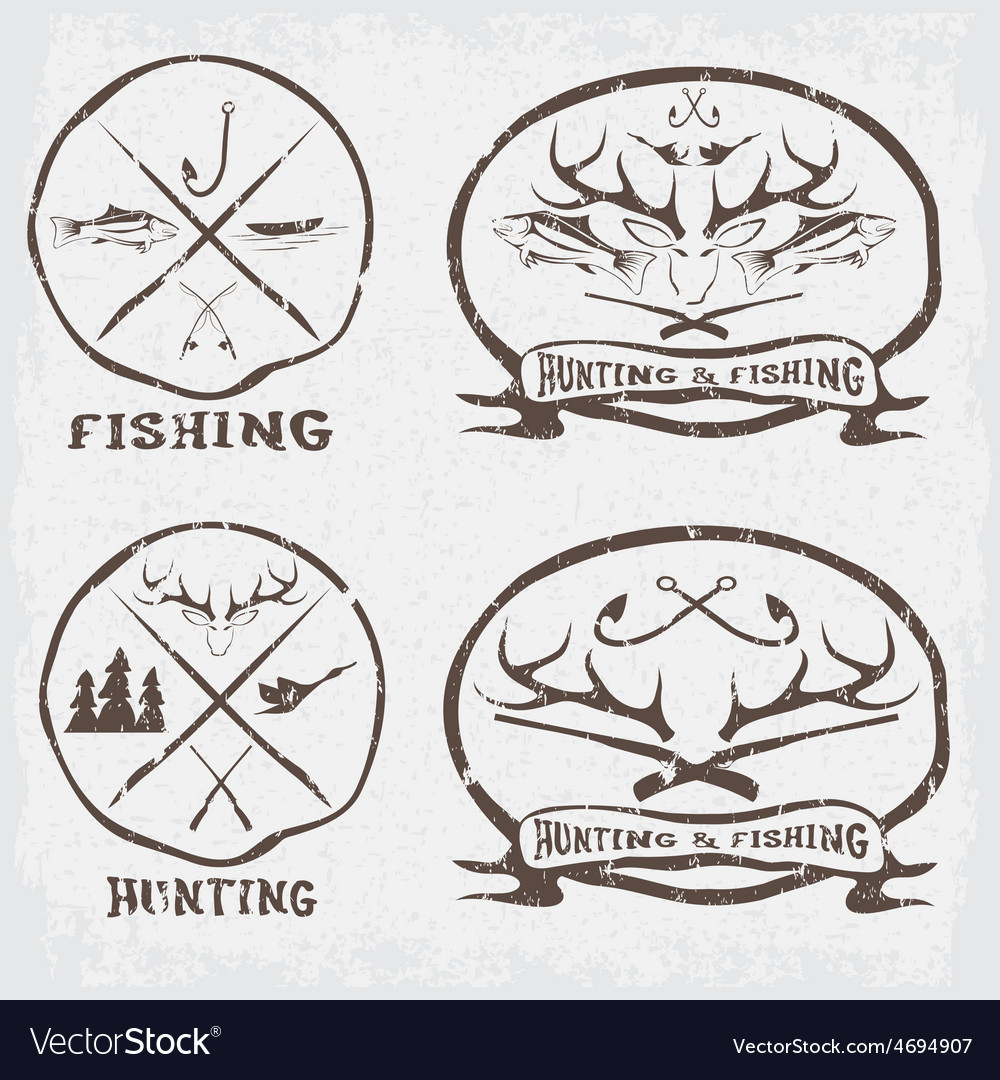 Hunting and fishing vintage emblems set vector   Price: 1 Credit (USD $1)