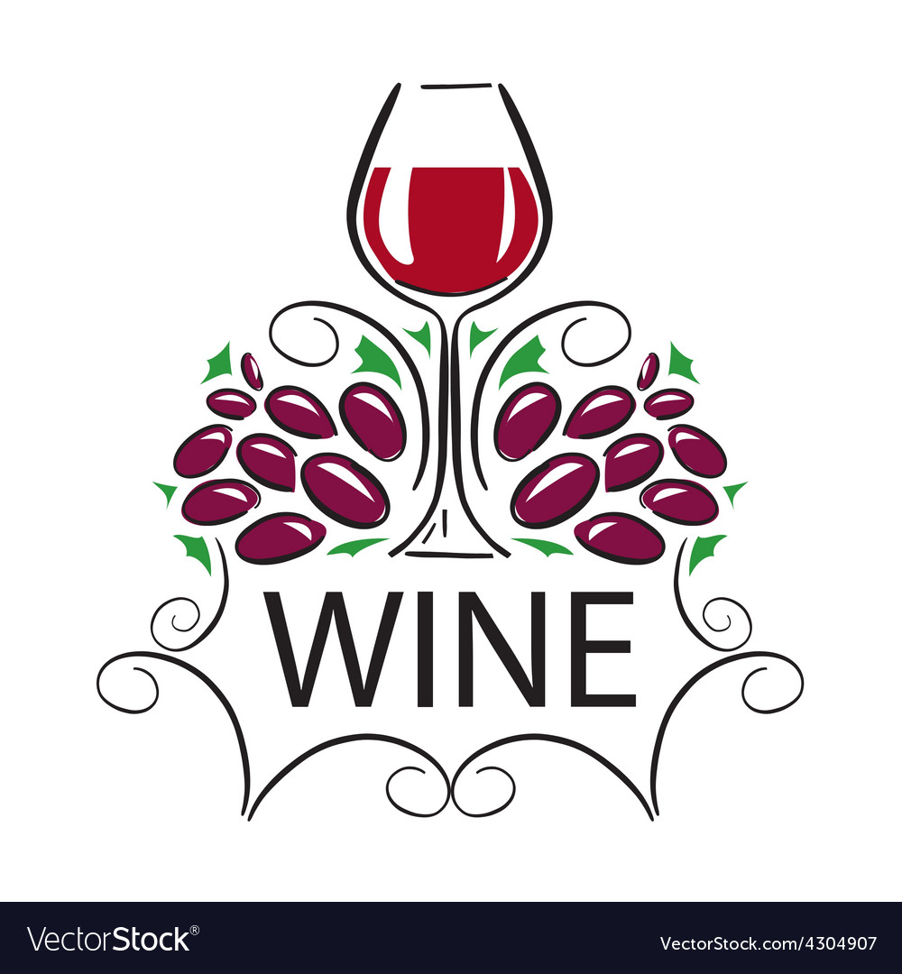 Logo glass of wine and grapes vector | Price: 1 Credit (USD $1)