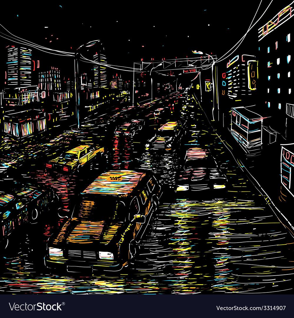 Night city traffic vector | Price: 1 Credit (USD $1)