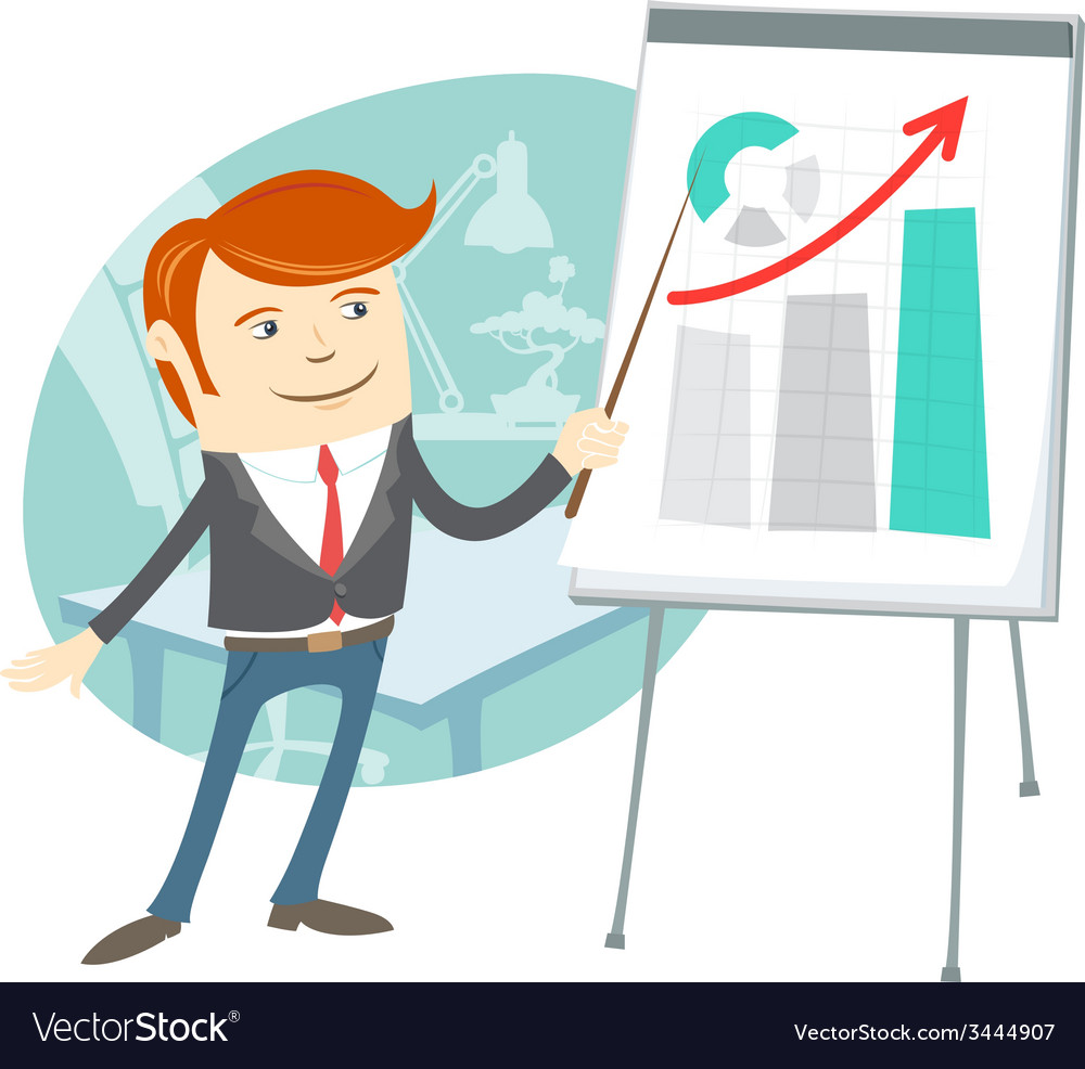 Office man presentating a graph on flipchart vector   Price: 1 Credit (USD $1)