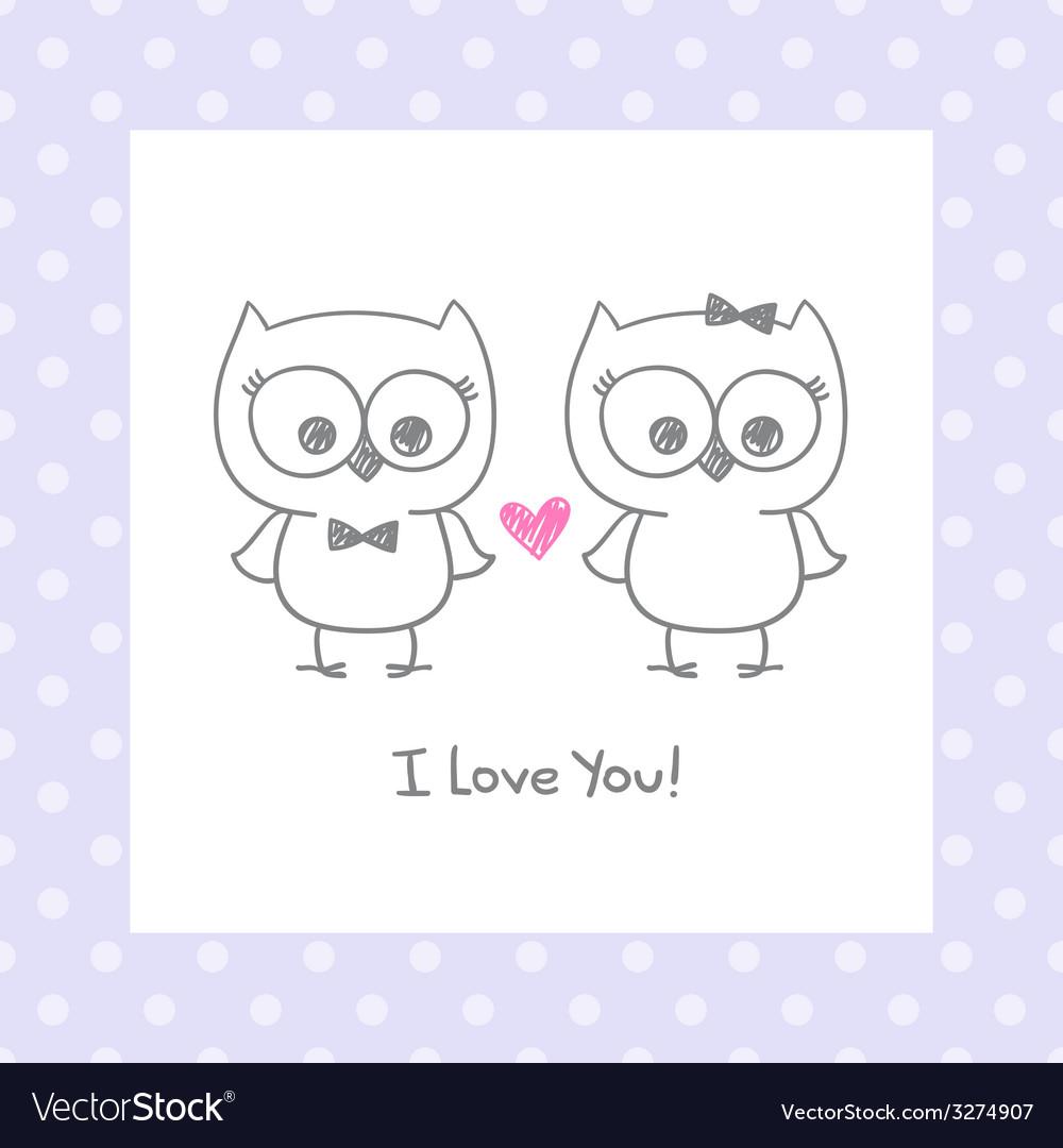 Owls in love vector | Price: 1 Credit (USD $1)