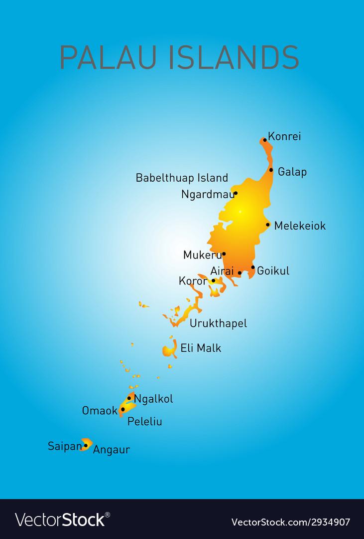 Palau map vector   Price: 1 Credit (USD $1)