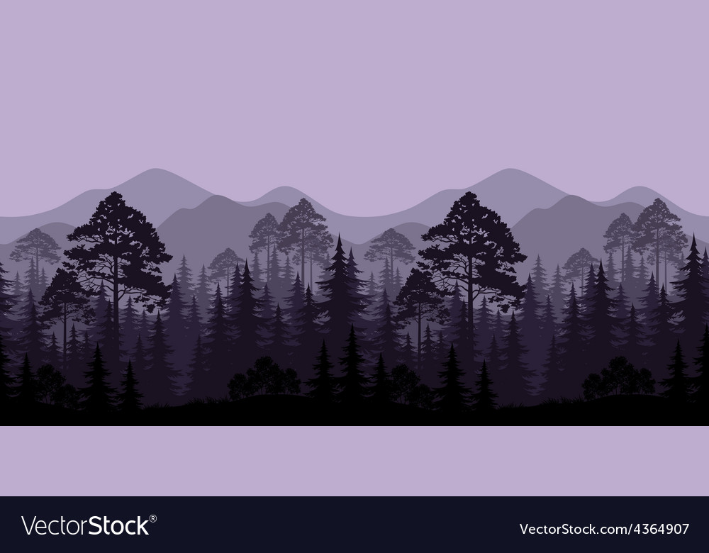 Seamless landscape trees and mountain silhouettes vector | Price: 1 Credit (USD $1)