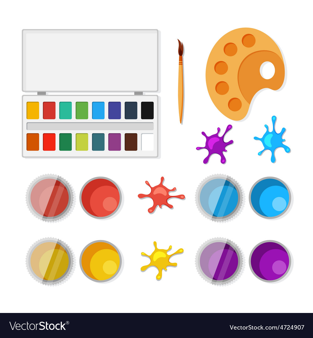 Set of objects for artists in flat style vector | Price: 1 Credit (USD $1)