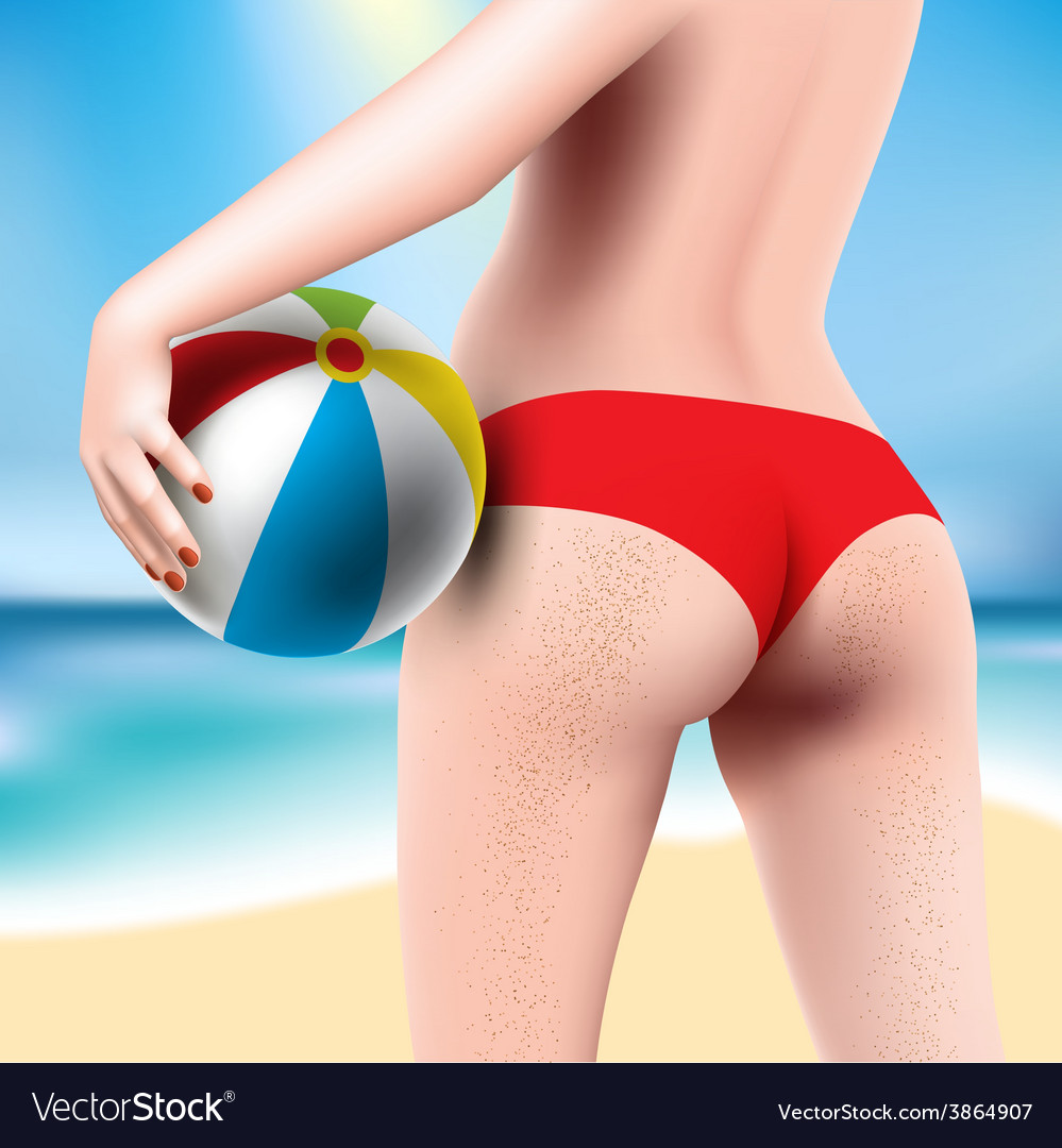 Woman with beach ball vector | Price: 3 Credit (USD $3)