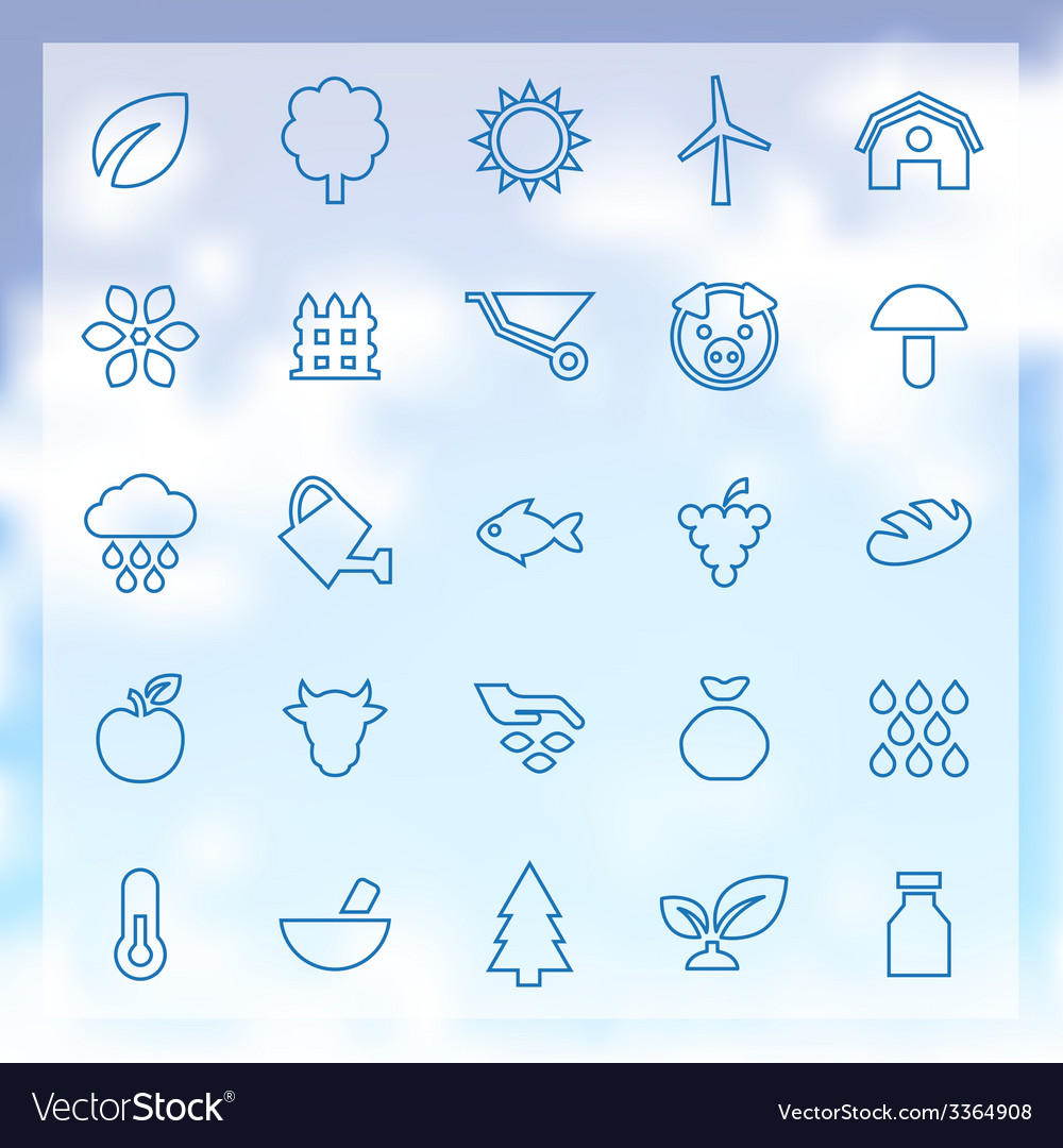 25 agriculture farm icons set vector | Price: 1 Credit (USD $1)