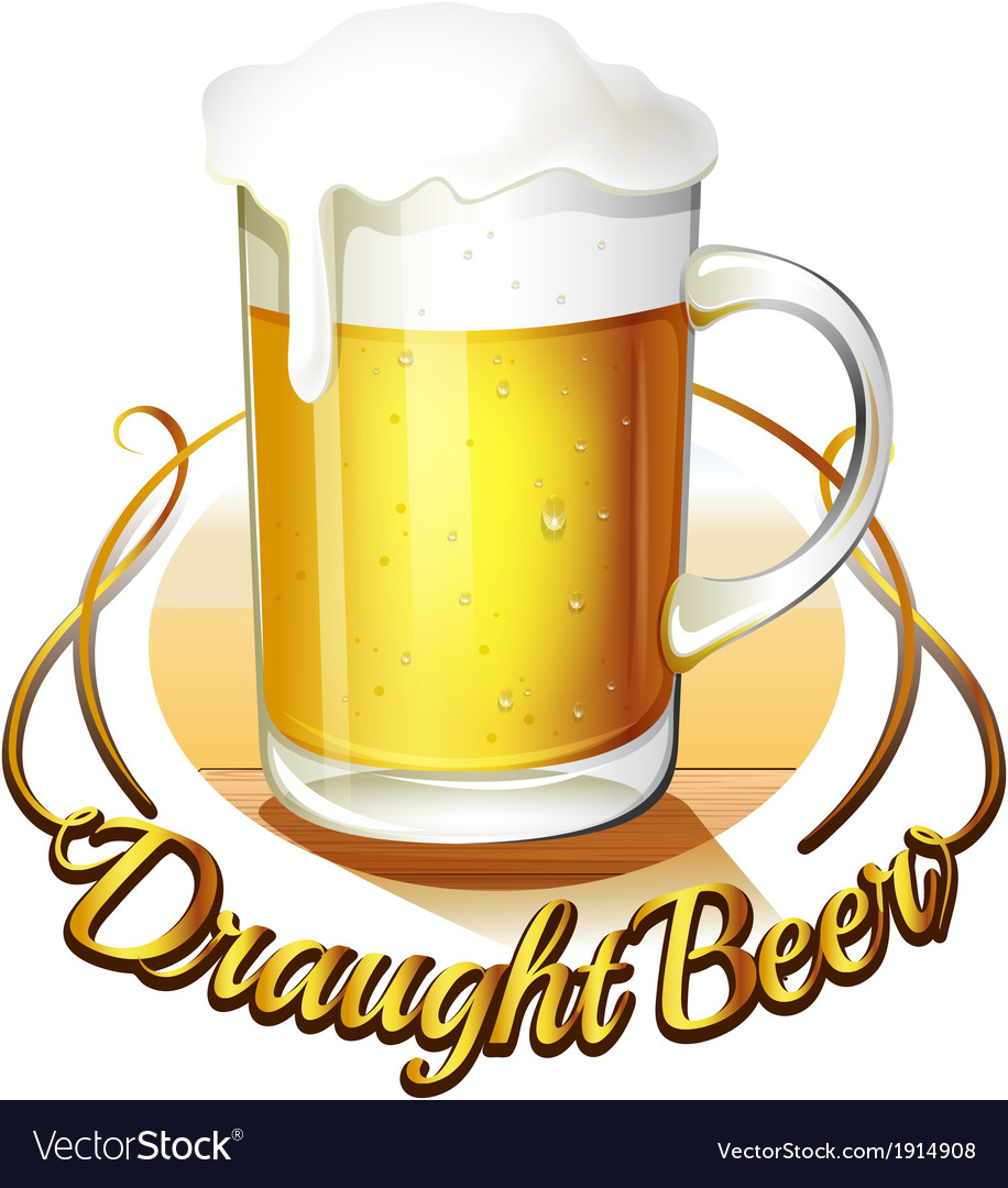 A draught beer label and a pitcher of cold beer vector   Price: 1 Credit (USD $1)
