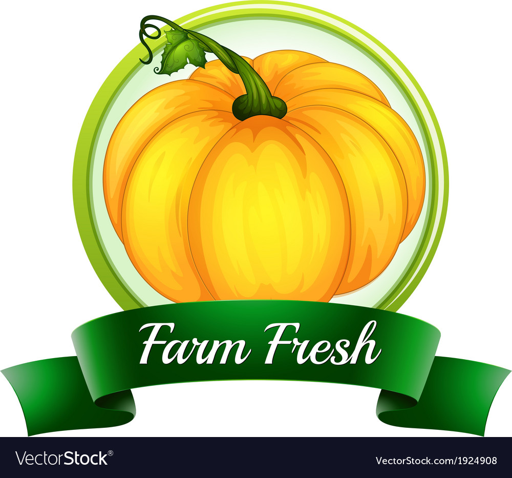 A farm fresh label with a pumpkin vector | Price: 1 Credit (USD $1)