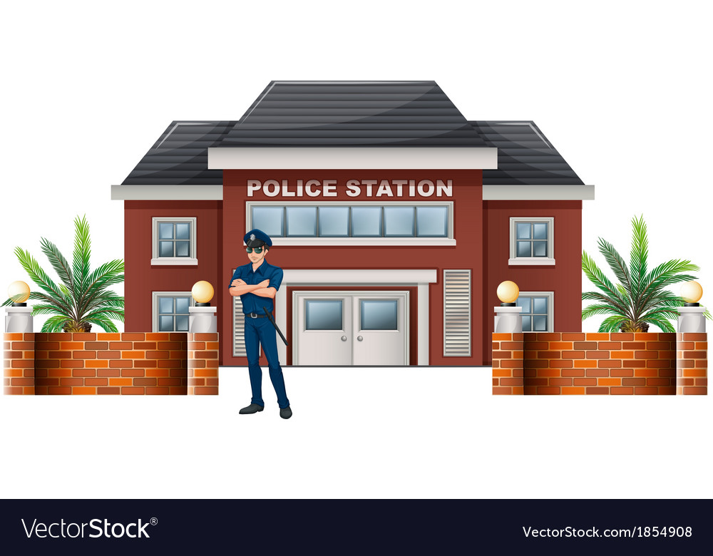 A policeman standing in front of the police vector | Price: 1 Credit (USD $1)