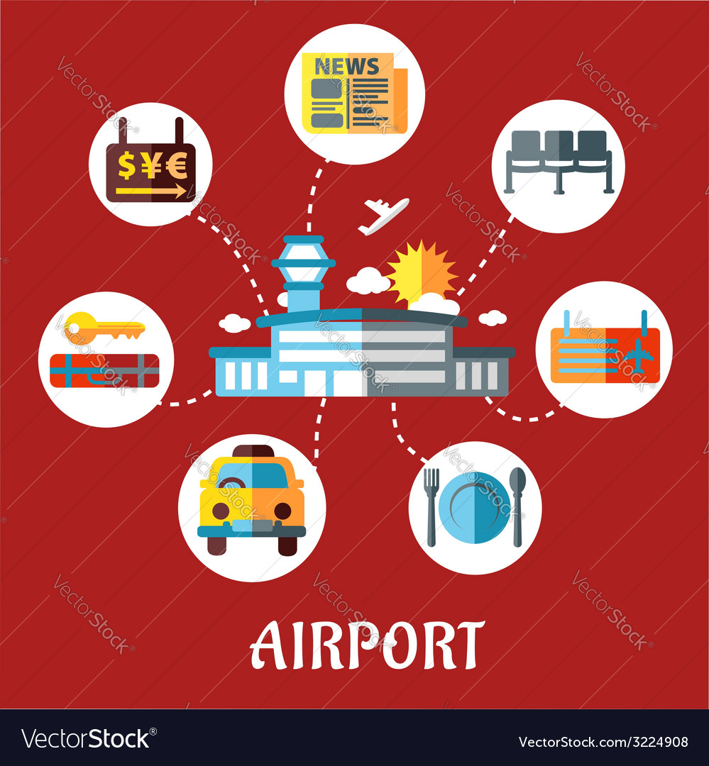 Airport and flight service flat concept vector | Price: 1 Credit (USD $1)