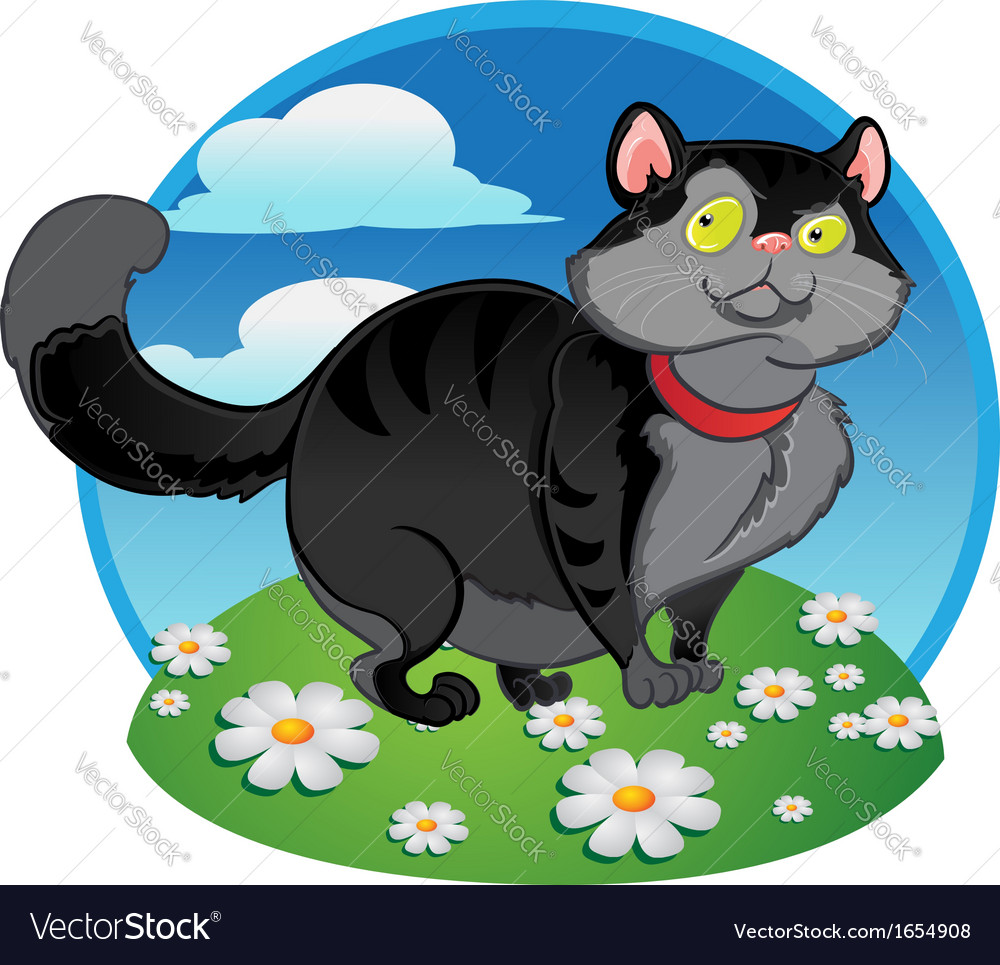 Black fat cat on the color background vector | Price: 3 Credit (USD $3)