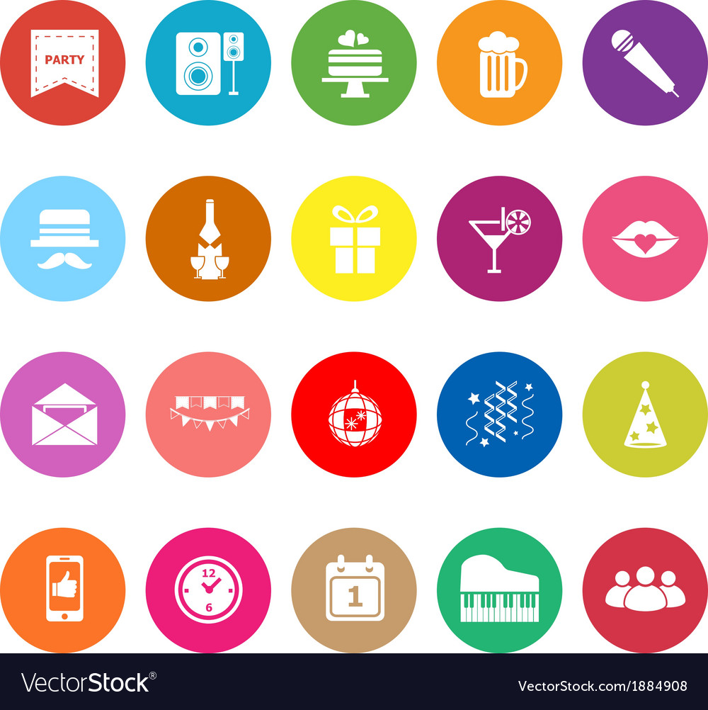 Celebration flat icons on white background vector | Price: 1 Credit (USD $1)