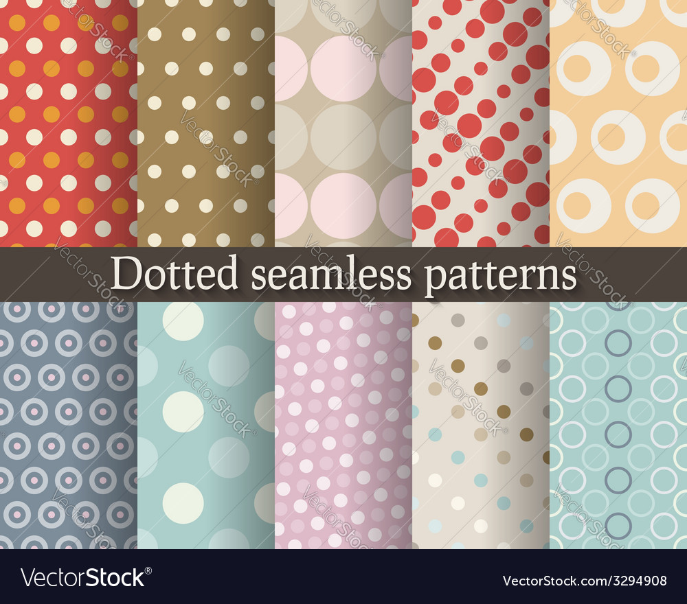 Dotted seamless patterns set vector | Price: 1 Credit (USD $1)