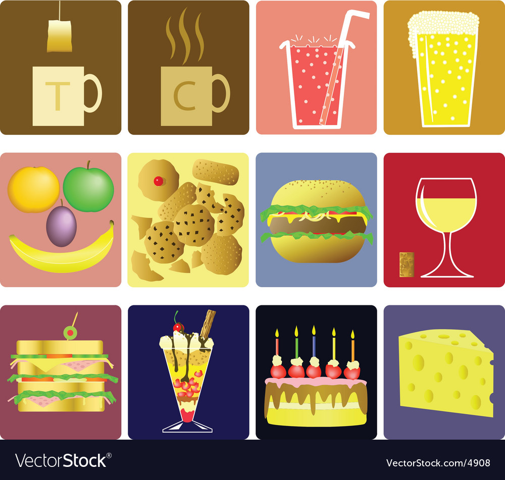 Drink and snack icons vector | Price: 3 Credit (USD $3)