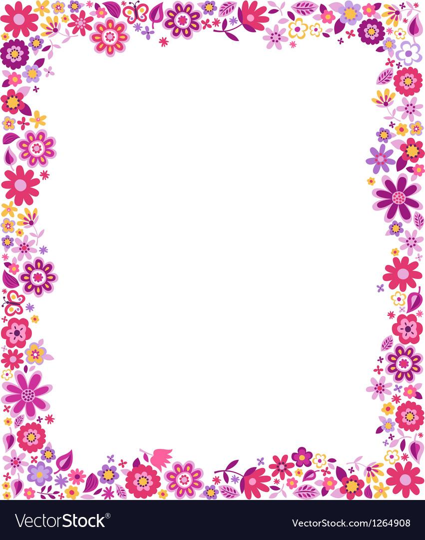 Floral border frame background vector | Price: 1 Credit (USD $1)