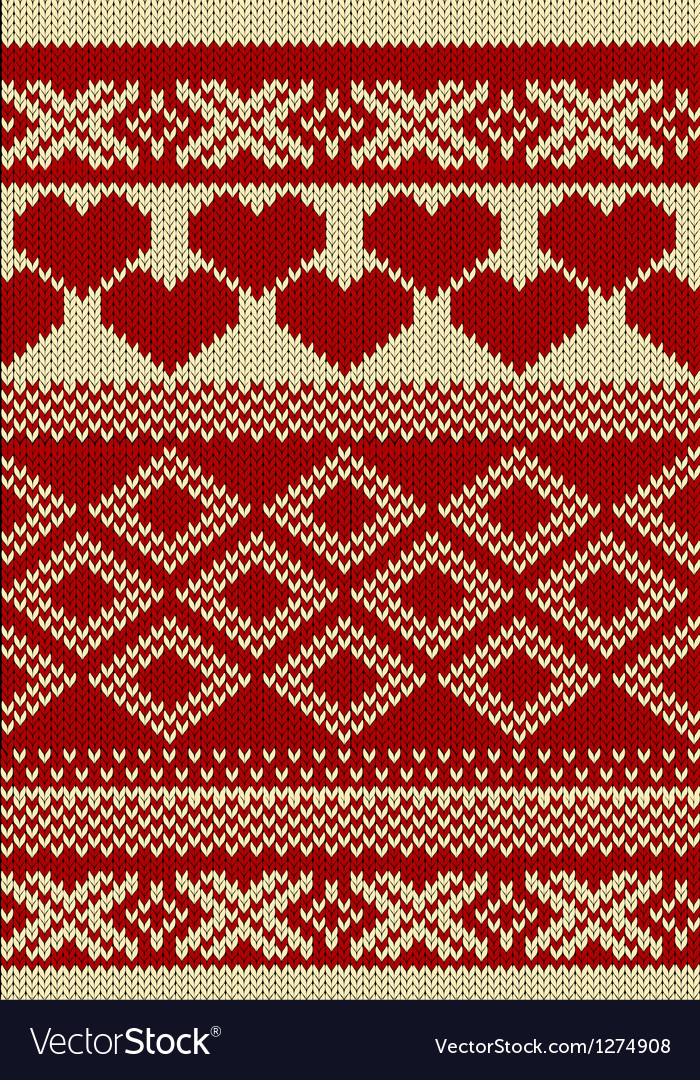 Knitted yarn swatch with slavic ornament vector | Price: 1 Credit (USD $1)