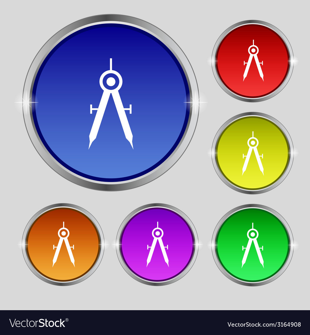 Mathematical compass sign icon set of colored vector | Price: 1 Credit (USD $1)