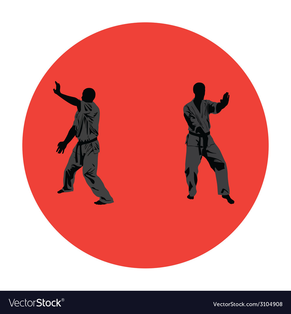Men are engaged in karate vector | Price: 1 Credit (USD $1)