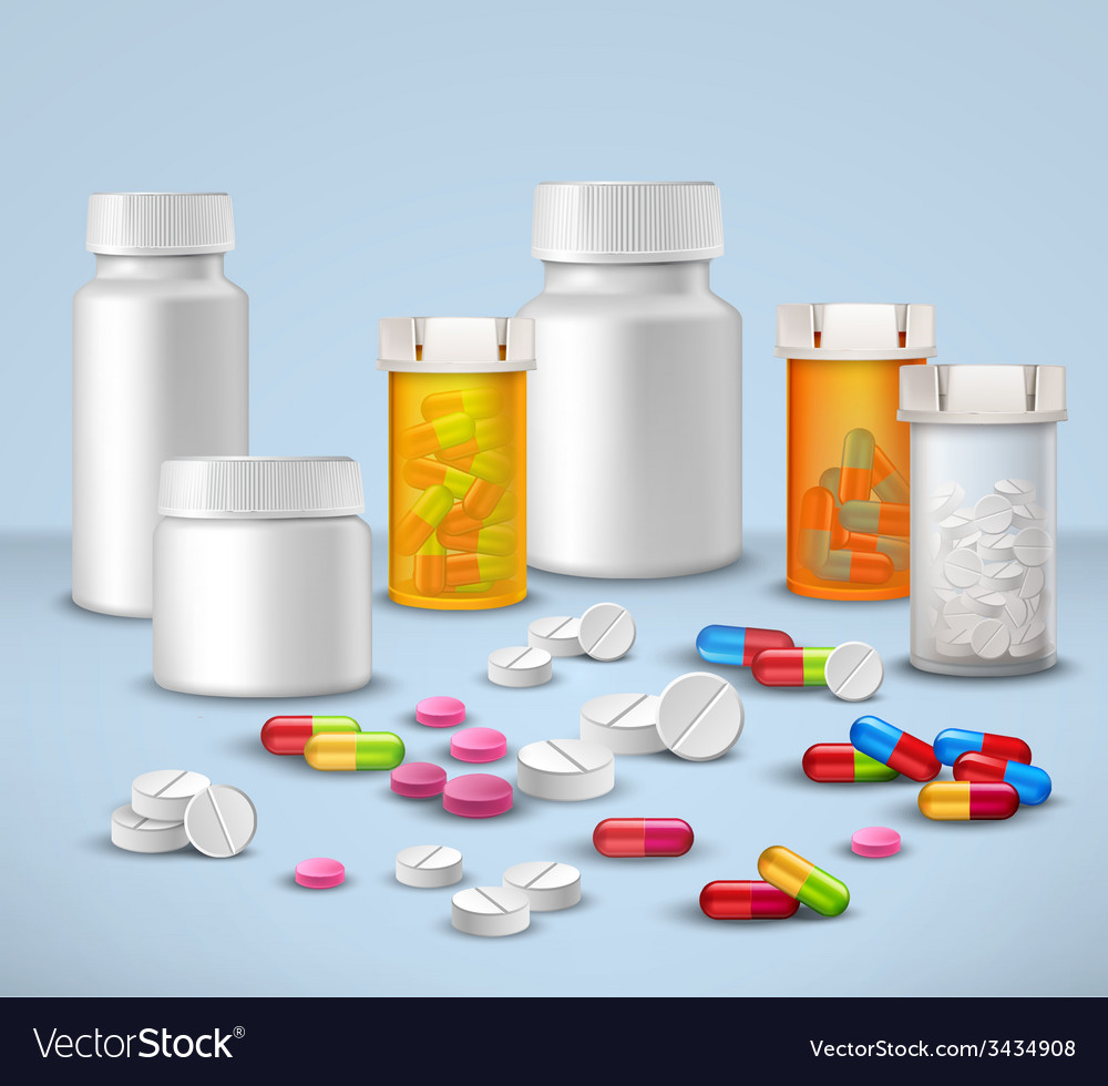 Pill bottles set vector | Price: 1 Credit (USD $1)