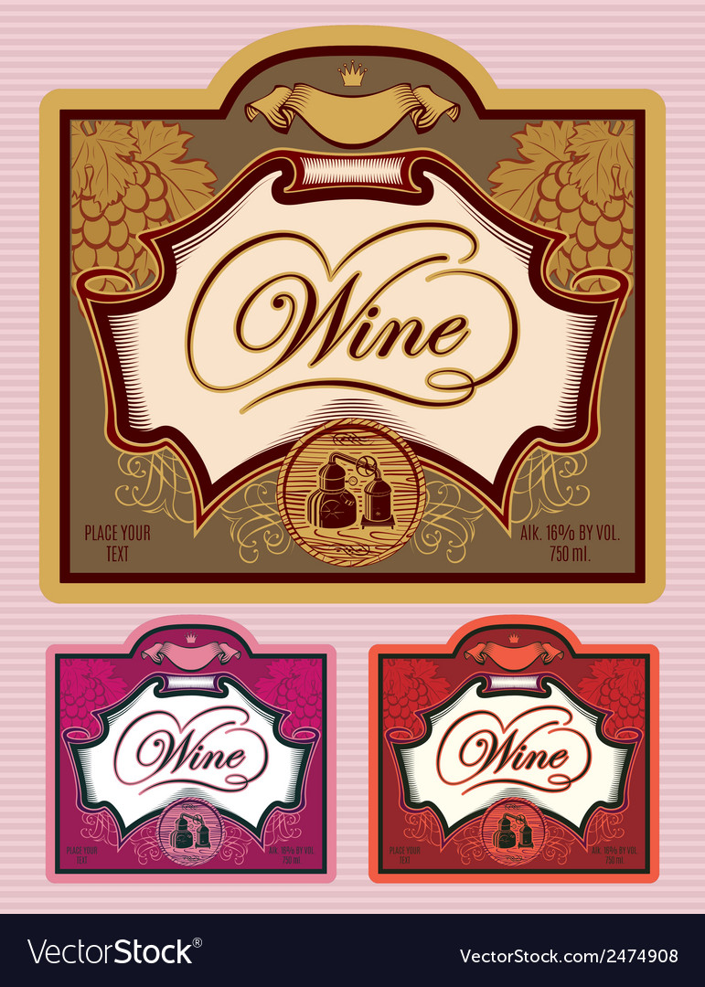 Set of labels for different kinds of wine vector | Price: 1 Credit (USD $1)
