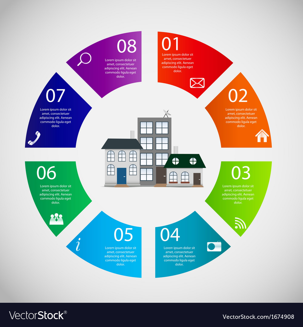 Town infographic template business concept vector | Price: 1 Credit (USD $1)