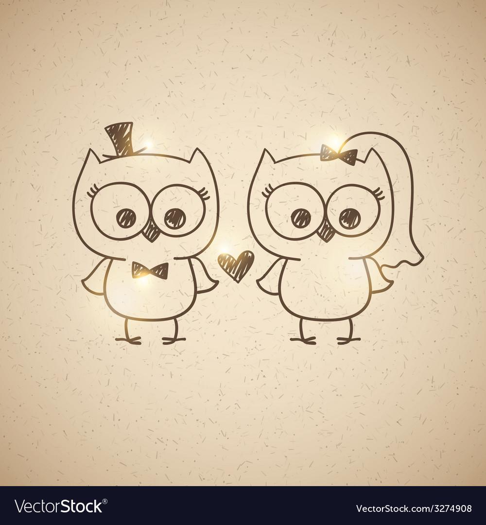 Wedding owls vector | Price: 1 Credit (USD $1)