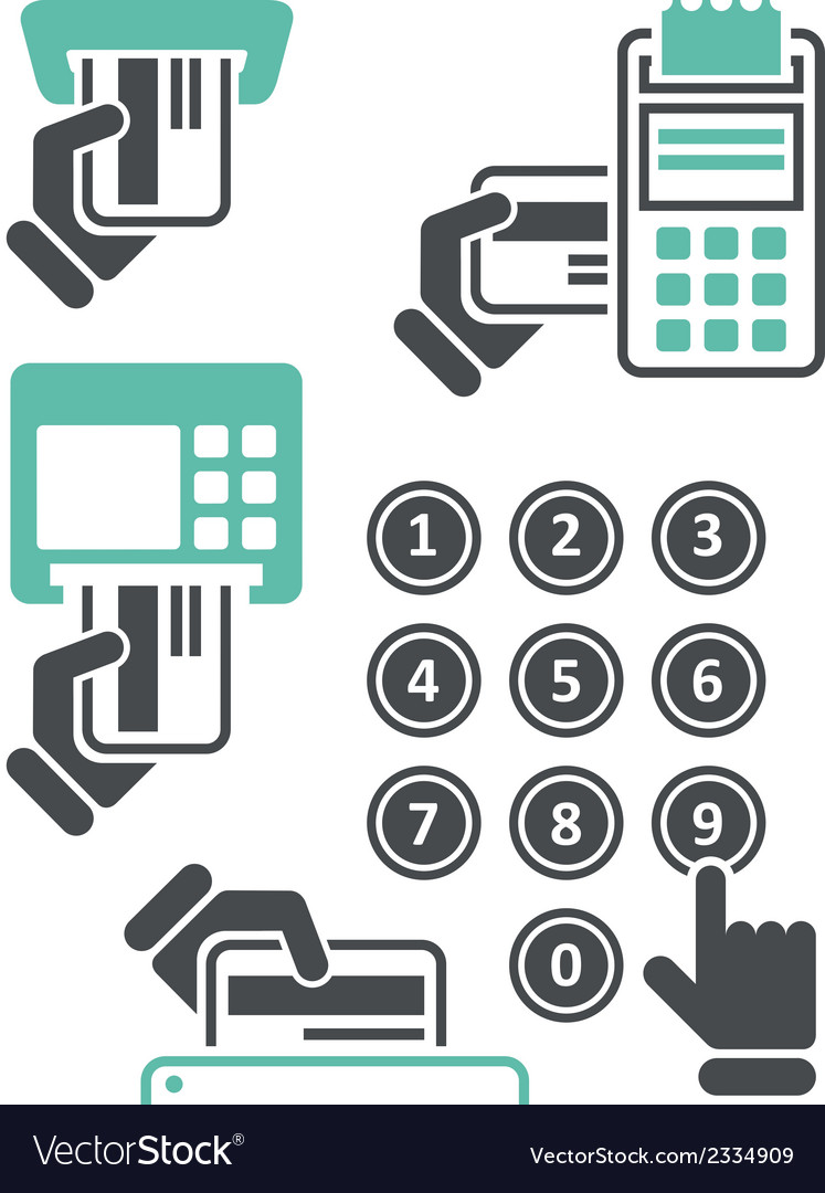 Atm keypad and pos-terminal - simple icons vector | Price: 1 Credit (USD $1)