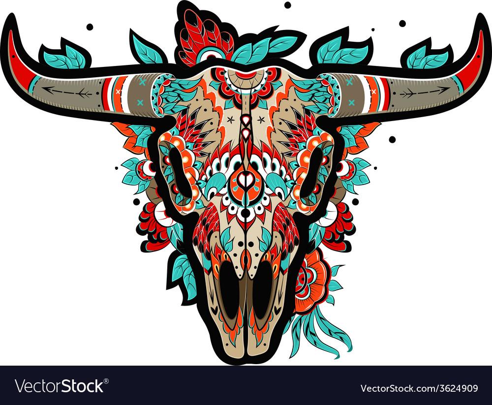 Buffalo skull vector | Price: 3 Credit (USD $3)