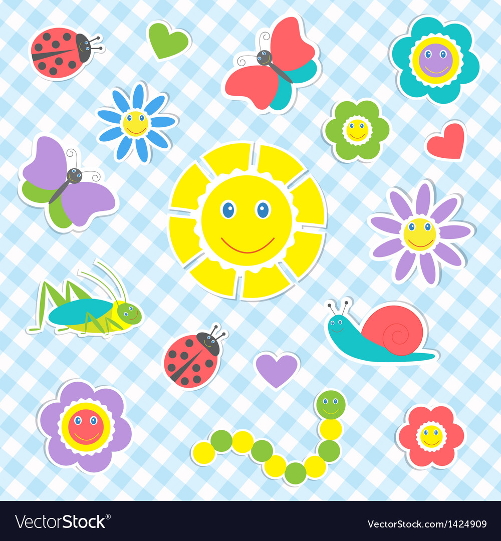 Cute insects and flowers vector | Price: 1 Credit (USD $1)
