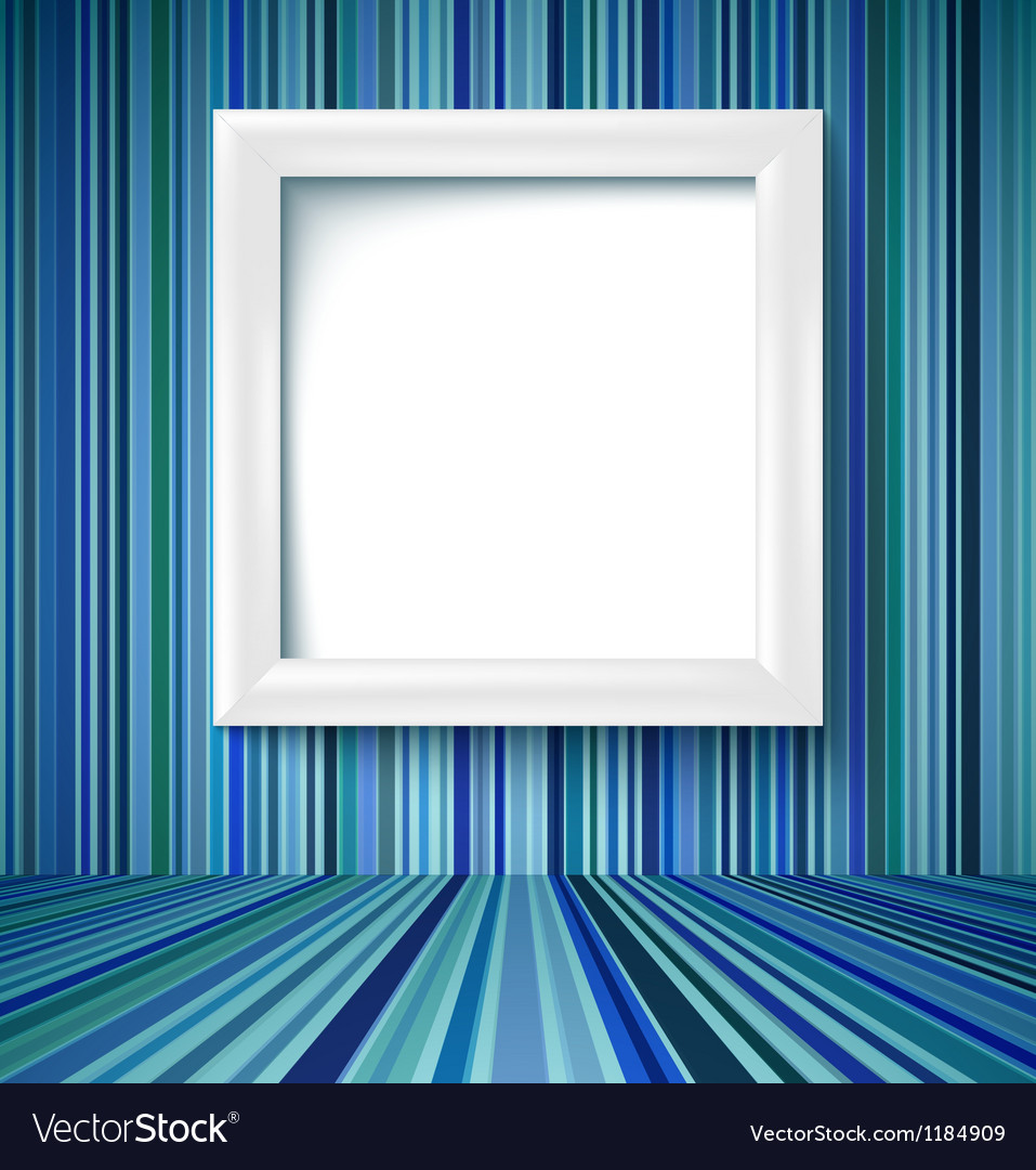 Empty room with photo frame on striped wallpaper vector | Price: 1 Credit (USD $1)
