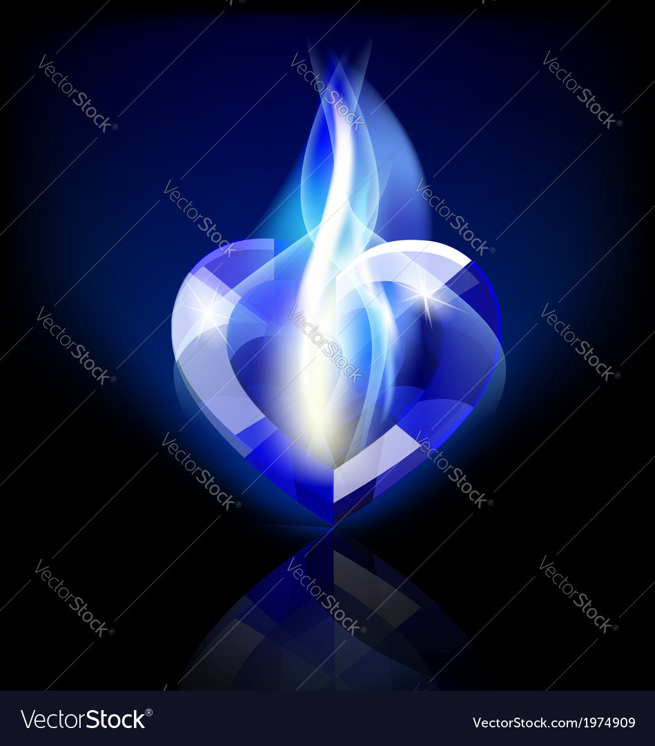 Flaming blue heart crystal vector | Price: 1 Credit (USD $1)