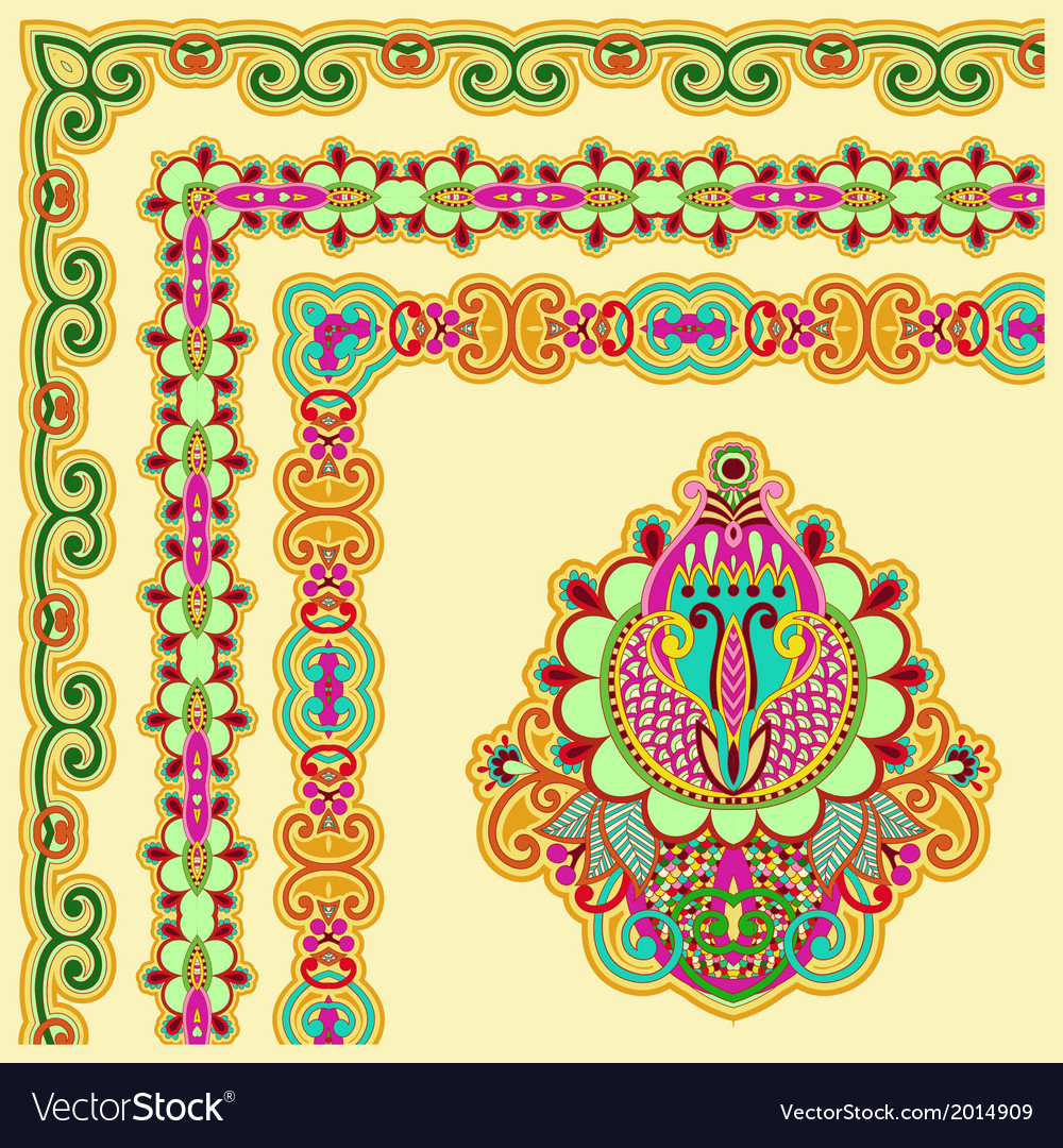 Floral vintage frame design set vector | Price: 1 Credit (USD $1)
