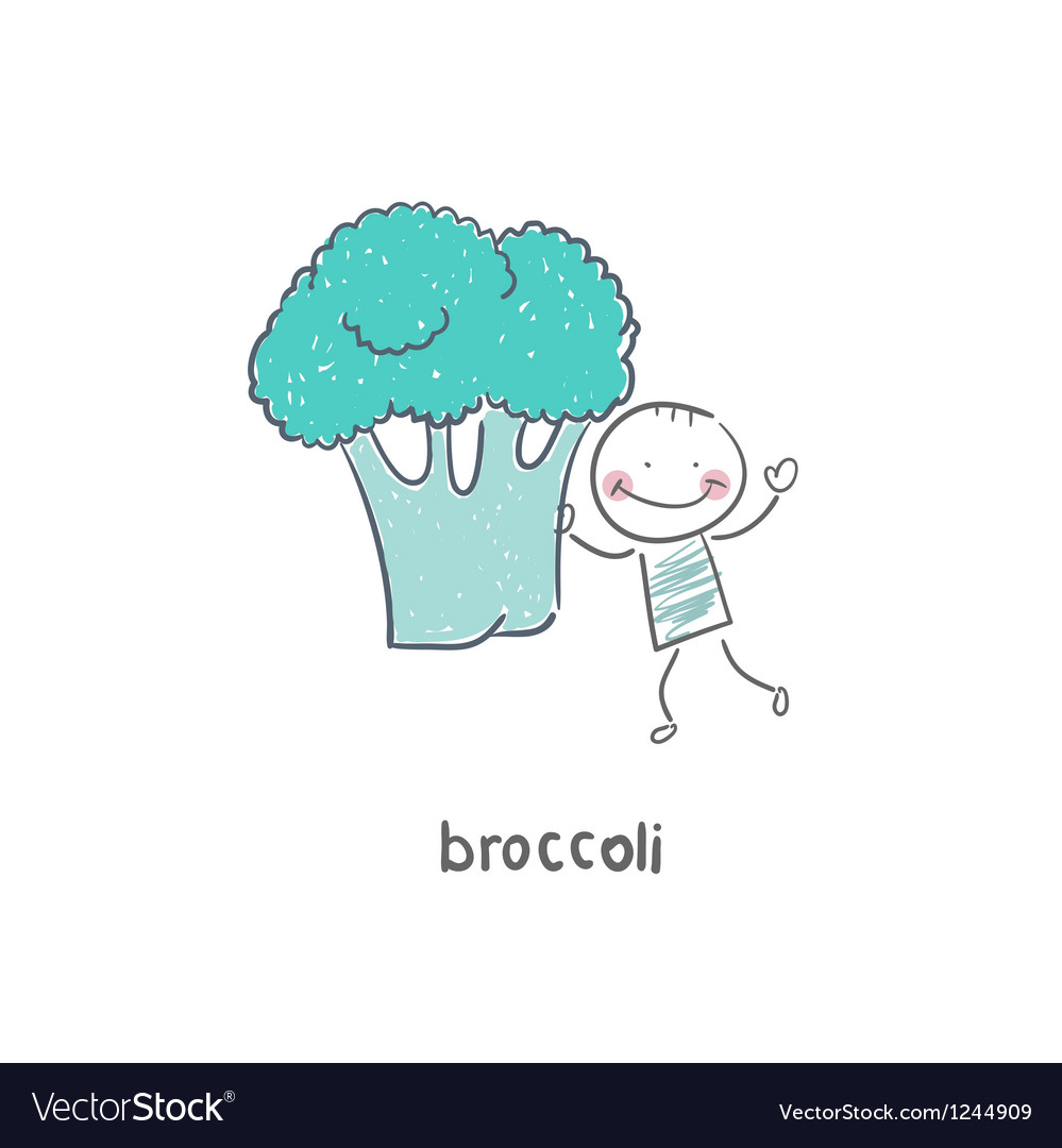 Man and broccoli vector | Price: 1 Credit (USD $1)