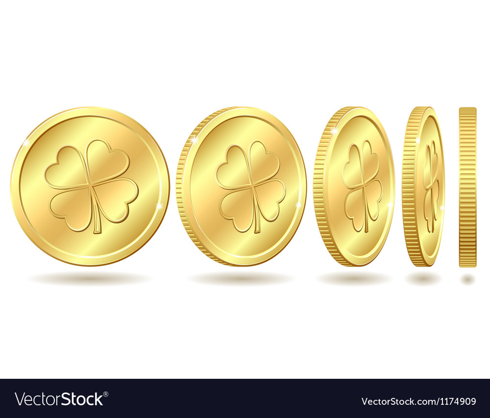 Set of golden coins with four leaf clover vector | Price: 1 Credit (USD $1)