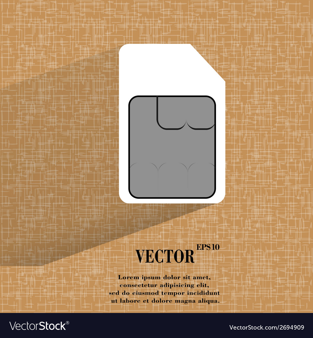 Sim card flat modern web button on a flat vector | Price: 1 Credit (USD $1)