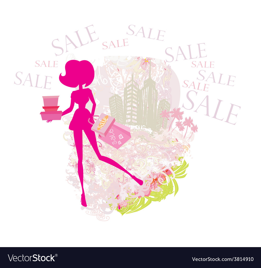 Abstract fashion girl shopping - summer sale vector | Price: 1 Credit (USD $1)