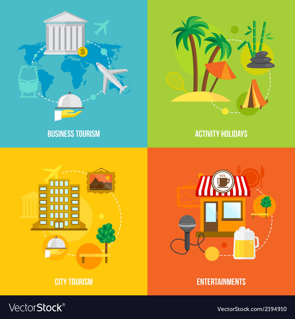Building tourism concepts flat vector | Price: 1 Credit (USD $1)