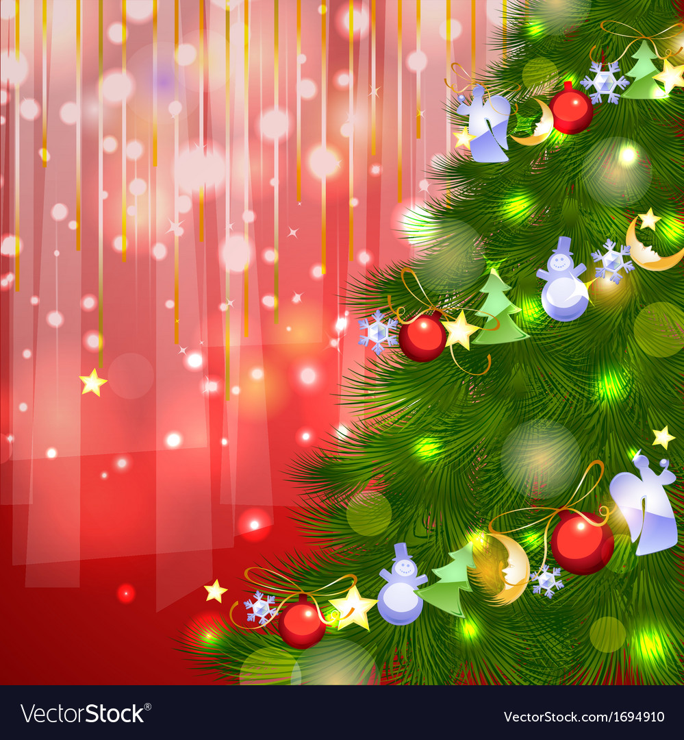 Christmas fir with garland decoration vector | Price: 1 Credit (USD $1)