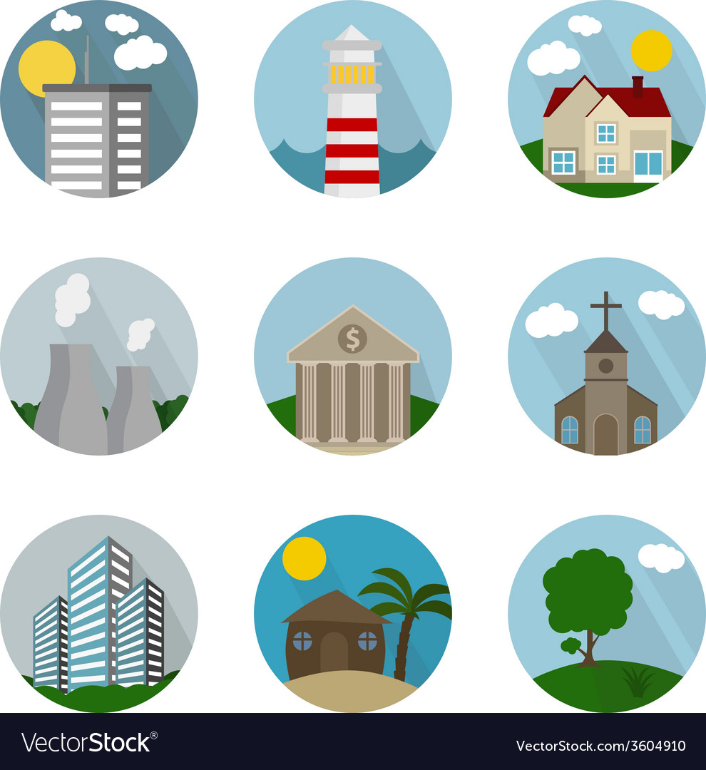 Flat icon circle buildings vector   Price: 1 Credit (USD $1)