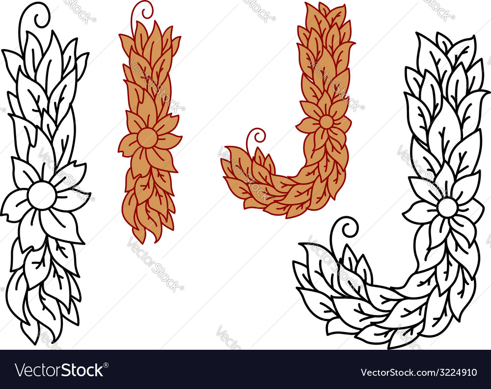 Floral and foliate alphabet letters i and j vector | Price: 1 Credit (USD $1)